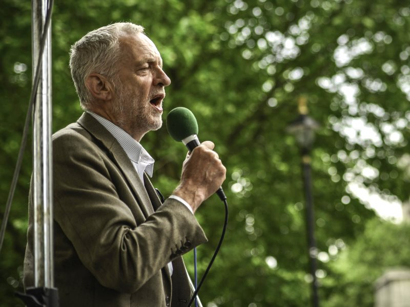 Jeremy Corbyn speaking out against austerity outside Parliament, 27th May 2015. Photo: Sleeves Rolled Up via Flickr (CC BY-NC-SA).