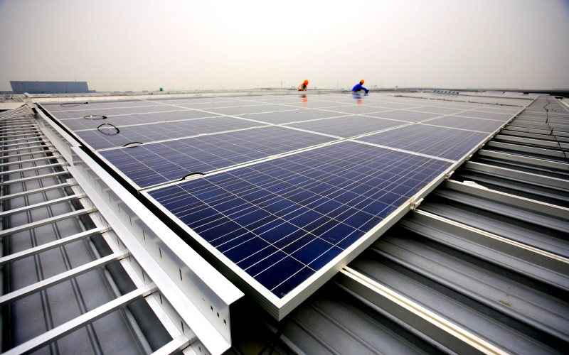 One way to use up China's surplus solar panels is with large domestic installations - like this one on the roofs of the Hongqiao Passenger Rail Terminal in Shanghai. Photo: Jiri Rezac / Climate Group via Flickr (CC BY-NC-SA).