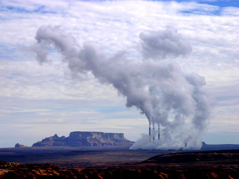 It'll take more than Obama's clean power plan to topple these smokestacks at the Navajo Generating Station in Arizona. Photo: Troy Snow via Flickr (CC BY).