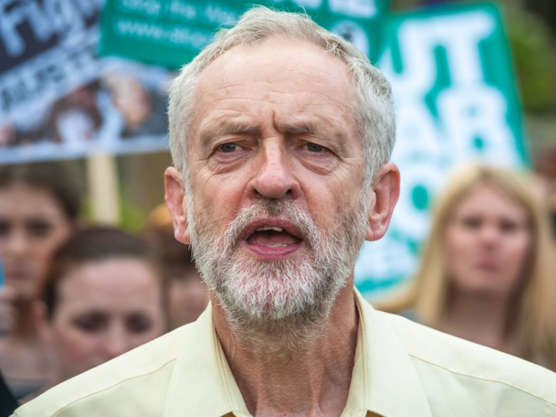 Jeremy Corbyn attends the People's Assembly Against Austerity, 8th July 2015, where DPAC, Friends of the Earth, Green Party and other organisations gathered in Parliament Square to protest Chancellor George Osborne's 'emergency' budget. Photo: Jasn via