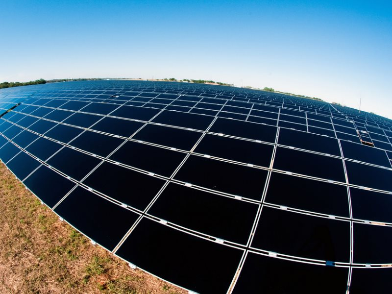 Solar deals are now being struck in Texas, USA, for under $60 / MWh. Duke Energy's 14MW Blue Wing Solar Project in San Antonio, Texas with nearly 215,000 photovoltaic solar panels. Photo: Duke Energy via Flickr (CC BY-NC-ND).