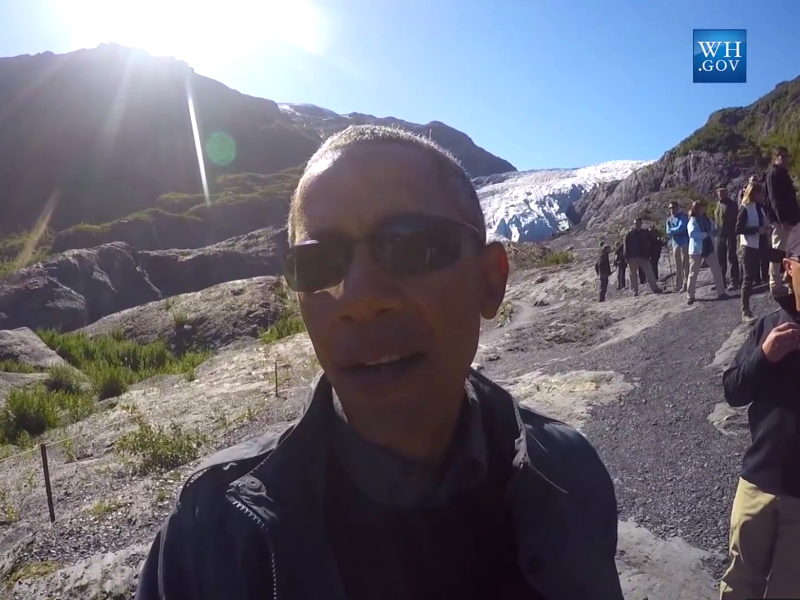 President Obama in the American Arctic, Alaska, in from of a fast-retreating glacier, 4th September 2015. Photo: Still from White House video by Hope Hall (see video embed).