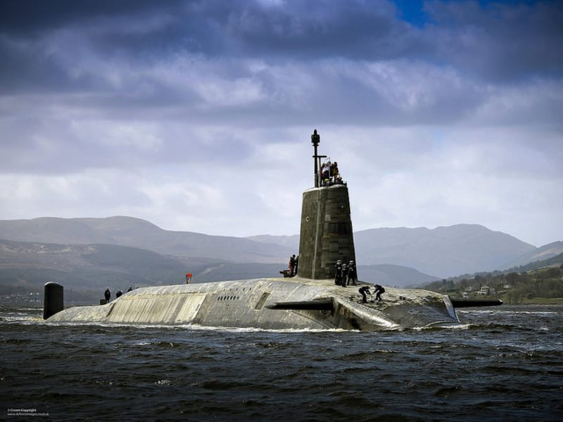 The UK nuclear-armed submarine HMS Vigilant returns to port. Photo: Defence Images (CC BY-NC).