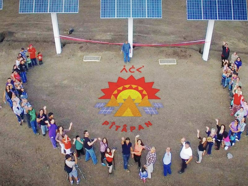 Ribbon cutting ceremony for the new solar installation in Little Buffalo, Alberta. Photo: Greenpeace Canada via Youtube.