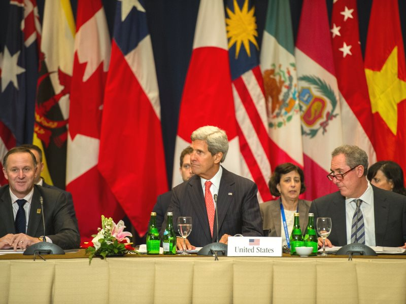 With this lot behind TPP, what's not to trust? US Secretary of State John Kerry participates in a meeting with national leaders in Bali, Indonesia, 8th October 2013. Photo: William Ng / State Department (Public Domain).