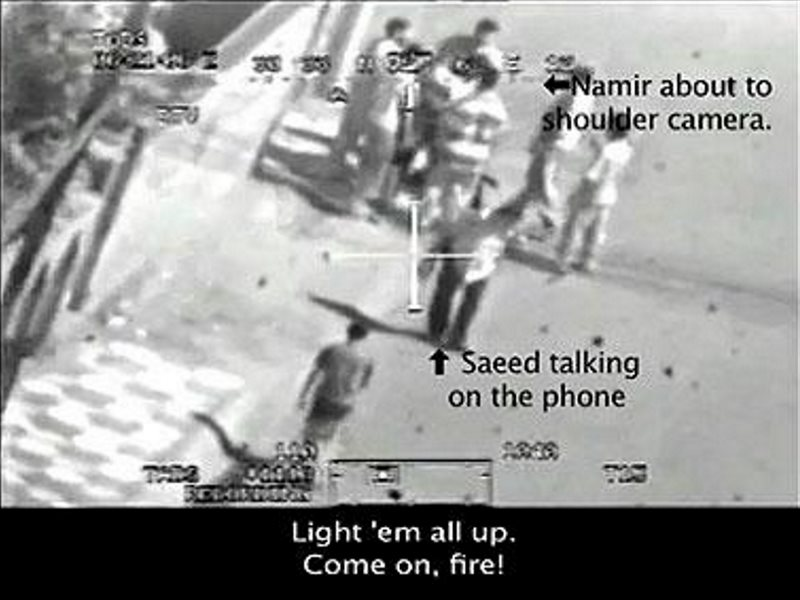 'Light'em all up!' From video footage from a US Apache helicopter attack on civilians and children in 2007 posted by Wikileaks.