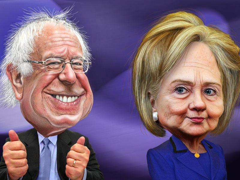Which can you trust to tackle America's toxic legacy of crumbling nuclear plants? Bernie Sanders and Hillary Clinton. Artwork: DonkeyHotey via Flickr (CC BY-SA).
