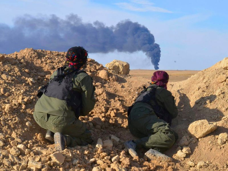 These Kurdish YPG fighters are strong and effective allies of Assad, Russia and the US against Daesh. Yet - with public 'consent' created by false media narratives - the US does nothing to protect them from attacks by NATO member Turkey. Photo: Kurdishstr