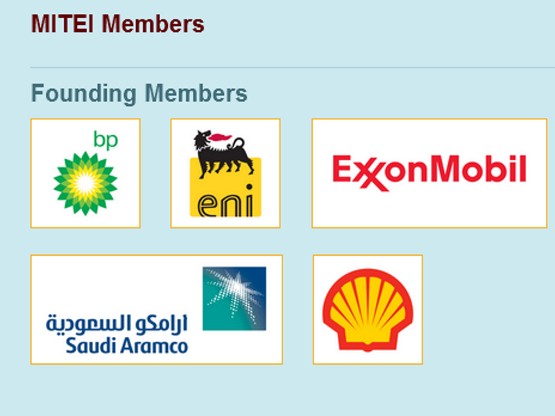 All five Founding Members of MIT's prestigious new Energy Institute are oil companies: BP, ENI, ExxonMobil, Saudi Aramco and Shell. It has so far attracted $600m in funding, almost all of it from the fossil fuel sector. Image: from MITEI website.