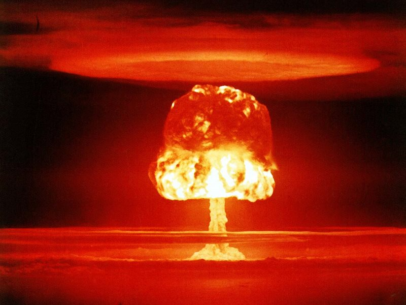A US 11-megaton nuclear bomb is detonated at Bikini Atoll in the Marshall Islands, 1954. Photo: US Government via International Campaign to Abolish Nuclear Weapons on Flickr (Public Domain).