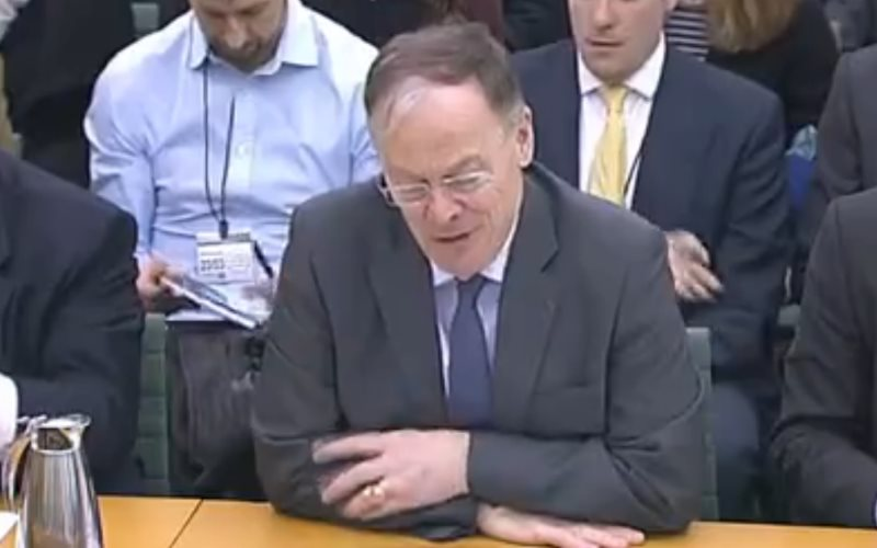 EDF chief Vincent de Rivaz giving evidence today to Parliament's Energy & Climate Change Select Committee. Photo: still from parliamentlive.tv.
