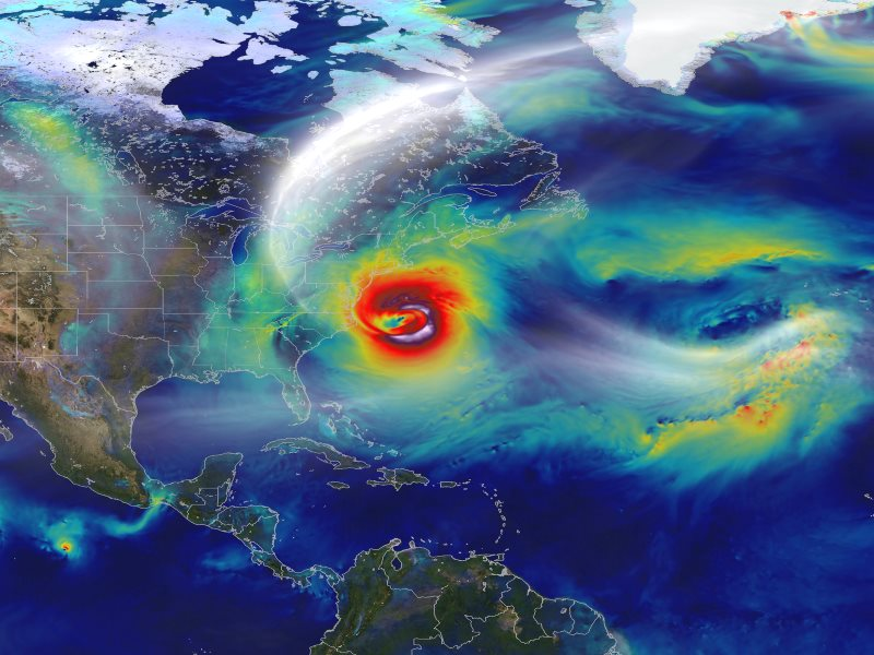 A day before landfall, on 29th October 2012, Sandy intensified into a Category 2 superstorm nearly 1,000 miles wide. Photo: William Putman / NASA's Goddard Space Flight Center and NASA Center for Climate Simulation via Flickr (CC BY).