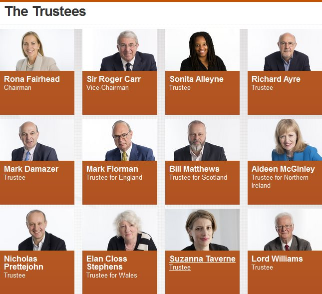 The BBC trustees who, collectively, decided against allowing the Green Party of England & Wales to give a single national broadcast for the 2016 election despite winning over 1 million votes in 2015. Photo: from BBC Trust website.