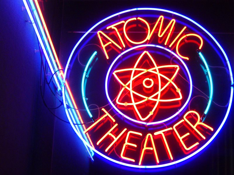 The nuclear show must go on! Sign for the Atomic Theater at the Museum of Science & Technology at Oak Ridge National Laboratory, TN, USA. Photo: Joel Kramer via Flickr (CC BY).