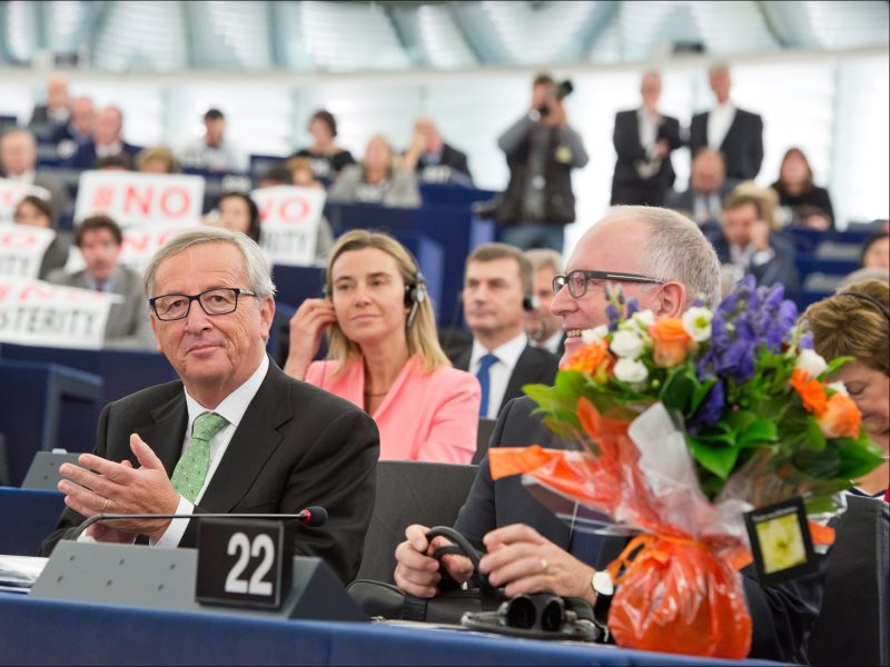 Whose side are they really on? Ours, or the corporations? MEPs approve the new college of 27 Commissioners, as presented by its President-elect Jean-Claude Juncker, 22nd October 2014. Photo: European Union 2014 - European Parliament via Flickr (CC BY-NC-N