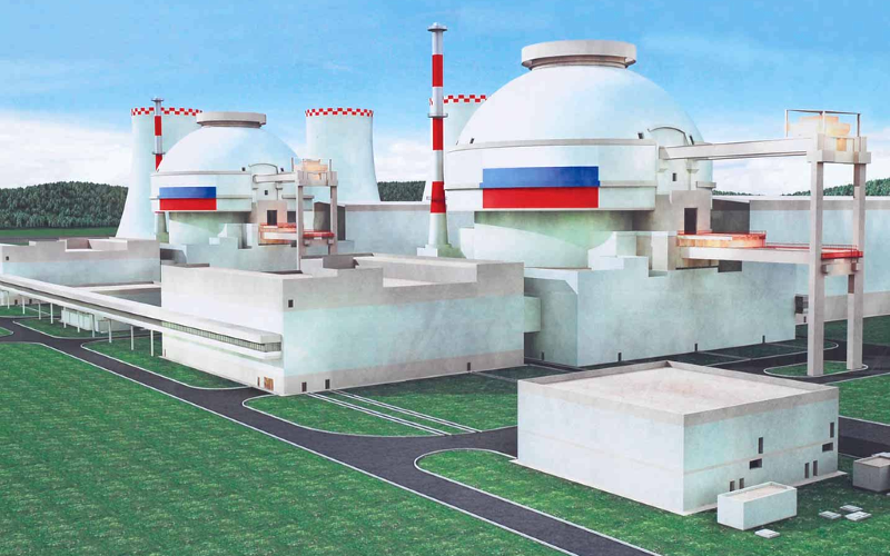 Impression of the double VVER-1200/392M (AES-2006) reactors for at Russia's Novovoronezh Nuclear Power Plant II, almost identical to the reactors planned for Ostrovets, Belarus. Photo: Rosenergoatom via Wikimedia Commons (CC BY).