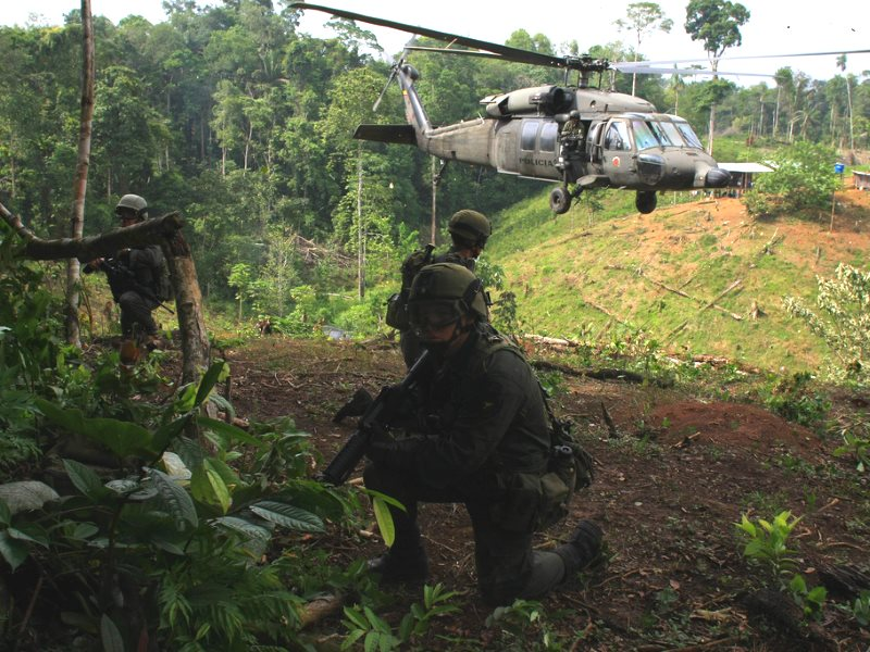 The war on drugs under way near Tumaco, Colombia, June 2008. But how come nothing like this happens in Colorado or Amsterdam? Photo: William Fernando Martinez / AP Photo via Flickr (CC BY-SA).