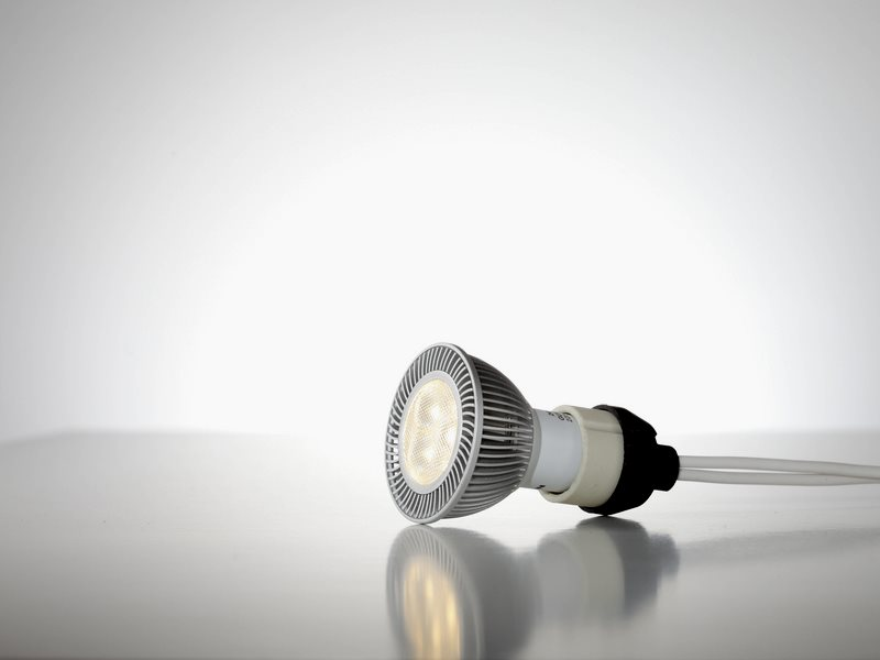 Replace your halogen GU10 with an LED version like this one, and cut power demand from 50W to just 5W. Photo: Nicolas von Wilcke / KlaresLicht via Flickr (CC BY-ND).