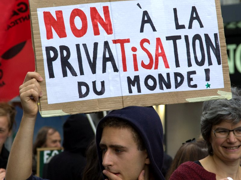 'No to the privaTISAtion of the world!' - sign at a recent demonstration agianst TISA in Geneva. Photo: Annette Dubois via Flickr (CC BY-NC).