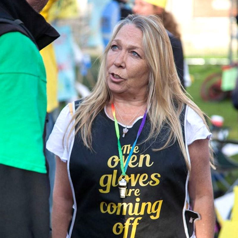 Tina Rothery of The Nanas on an anti-fracking protest. Photo: The Nanas.