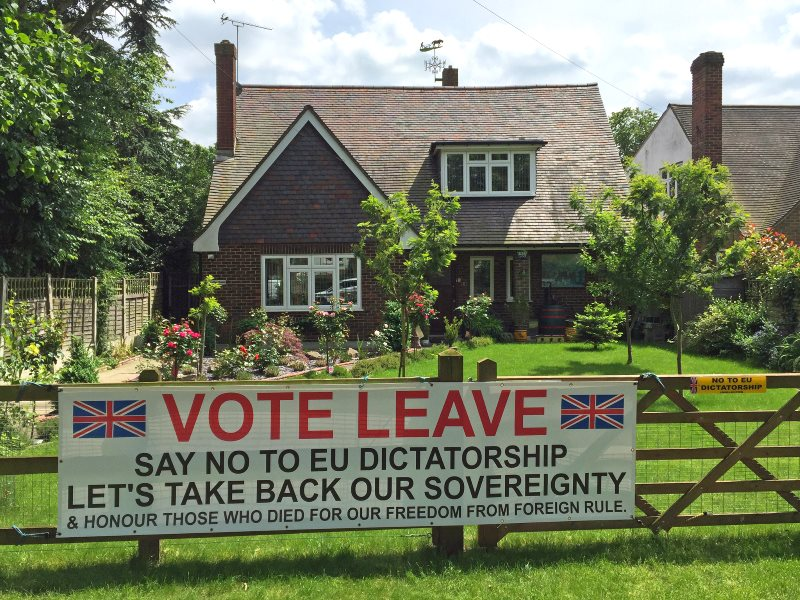 'Leave' banner in Epping, South of London, UK, 19th June 2016. Photo: diamond geezer via Flickr (CC BY-NC-ND).