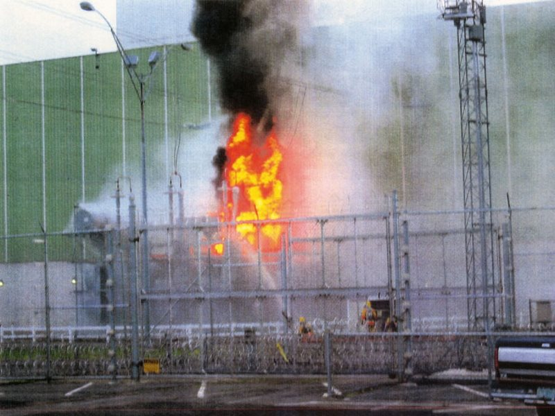 The transformer fire at Vermont Yankee nuclear power station, 18th June 2004. Photo: anonymous whistleblower via nukeworker.com.