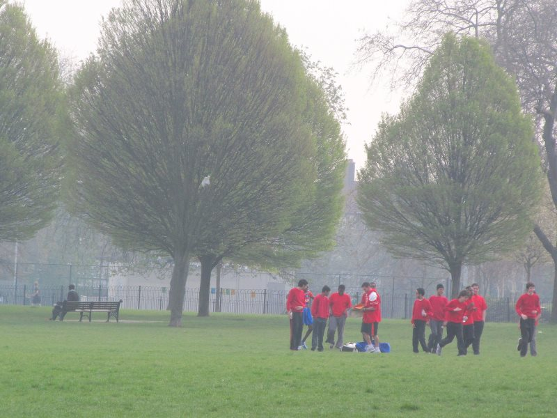 One example of the government's law-breaking that has been challenged in the courts - failing to meet EU air quality standards. Photo: Air pollution level 5 (Moderate) at Clissold Park, Hackney, London, by DAVID HOLT via Flickr (CC BY).