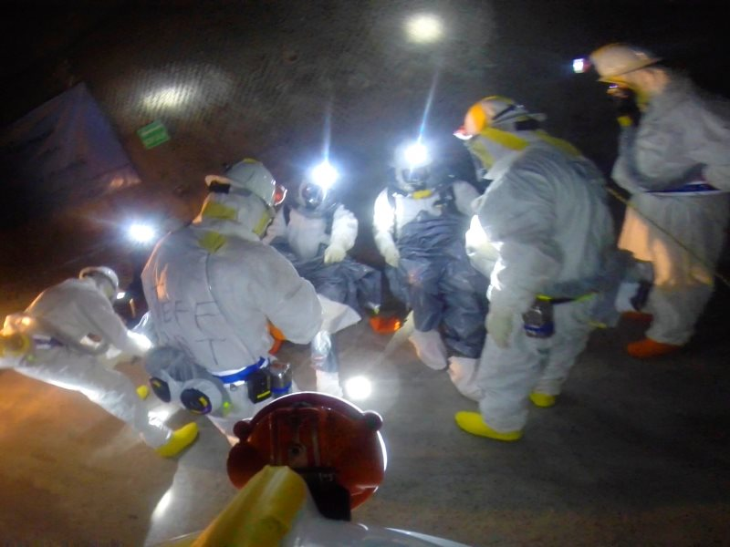During April 14 - 23, 2014, WIPP recovery teams made multiple trips into the WIPP underground, eventually reaching Panel 7, Room 7 - the suspected location of the radiological event. Photo: WIPP.