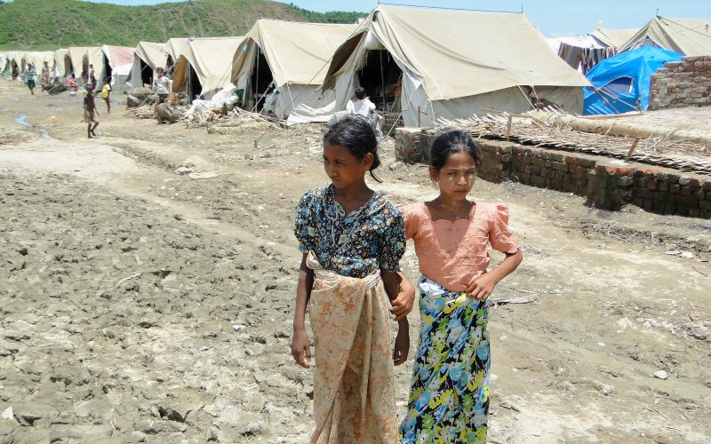 Myanmar: Monsoon rains threaten Rohingya who have been displaced from their homes, villages and lands under violent and discriminatory government policies. Photo: Evangelos Petratos / EU/ECHO, Myebon, June 2013 via Flickr (CC BY-NC-ND).