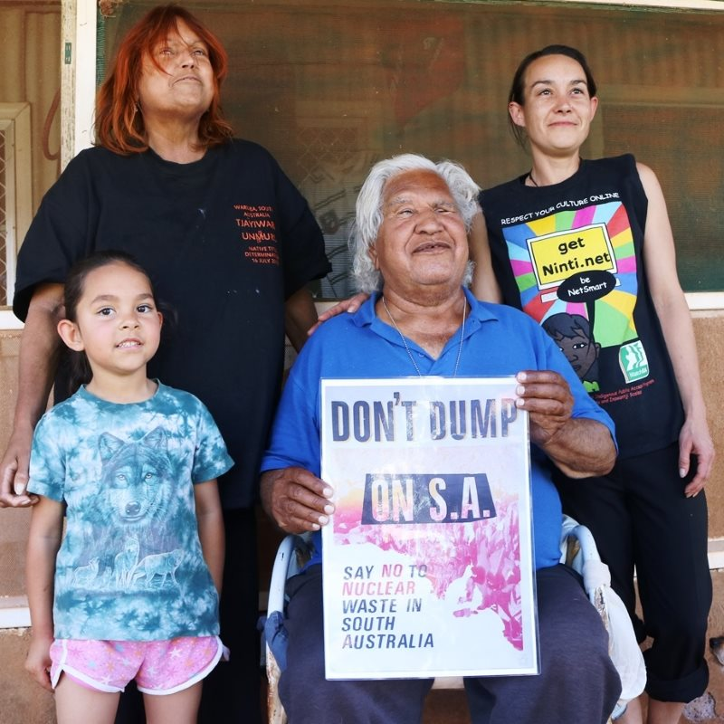 Four generations of Aboriginal Elder Yami Lester's family, united in their opposition to any nuclear waste dump on their land. Photo: author provided.