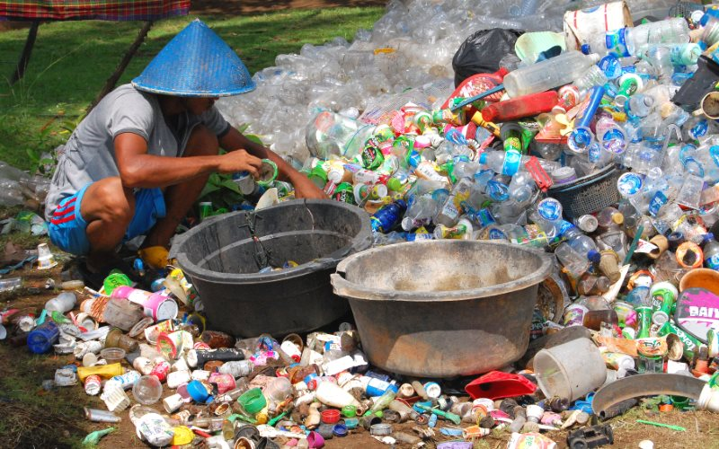 Plastic waste being sorted by hand in Babakan, West Java, Indonesia. Photo: Ikhlasul Amal via Flickr (CC BY-NC).