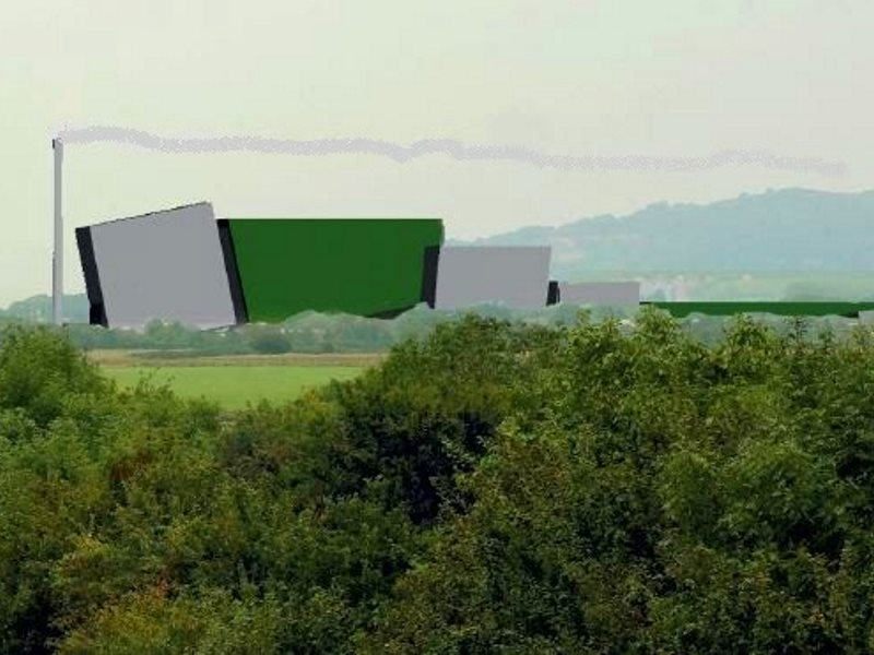 Scale representation of the incinerator in situ, near Junction 12 of the M5, providing a highly dubious 'welcome to Gloucester', adjacent to the AONB. Image: GlosVAIN.