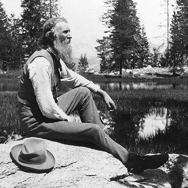 John Muir, full-length portrait, facing right, seated on rock with lake and trees in background, circa 1902. Photo: unknbown via Library of Congress (Public Domain).