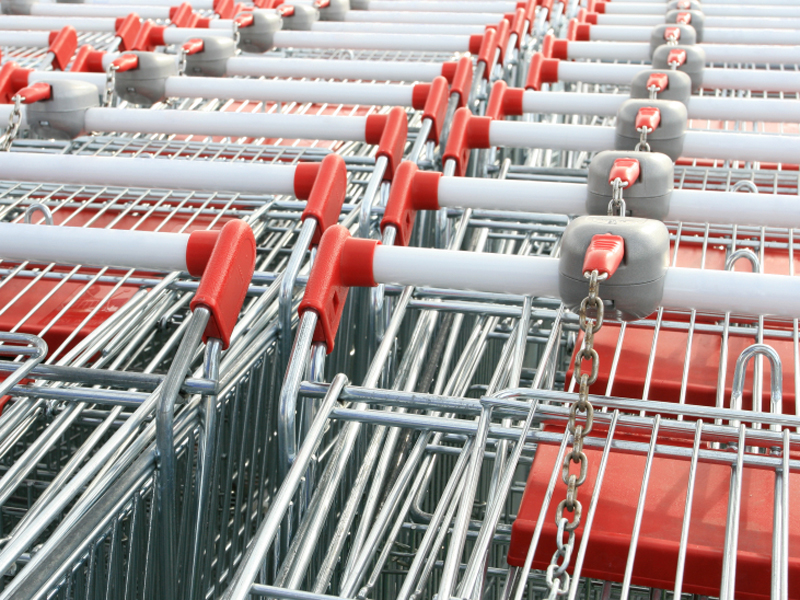 Fleet of shopping trolleys
