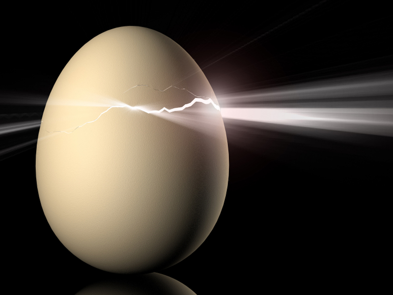Image of an egg cracking representing symbolic change