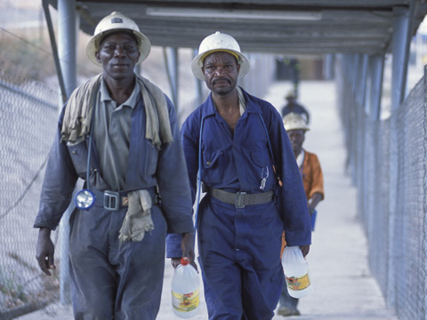 Mine workers at NFC Africa Mining shaft at Chimbishi - Credit: Christian Aid/David Rose