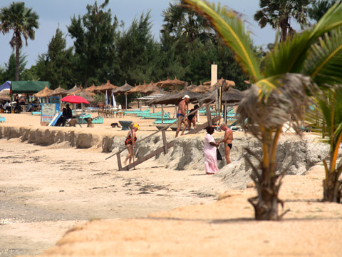 Tourists on beach in Gambia