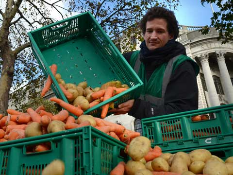 Man tipping vegetables into container. Consumers & supermarkets need to tackle food waste