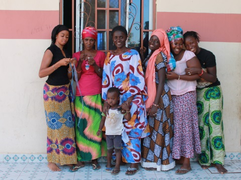 Women at Isatou Ceesay's workshop for upcycled products. Photo: author supplied.