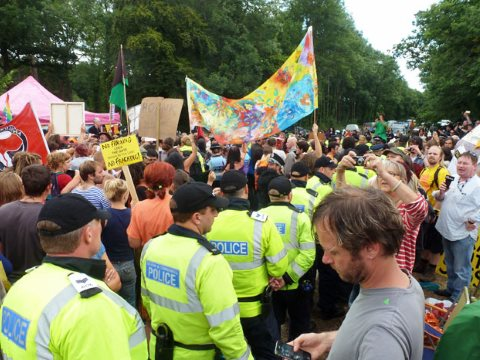 Anti-fracking protest at Balcombe, Sussex. Photo: Robin Webster via geograph.org.uk, CC-BY-SA-2.0.