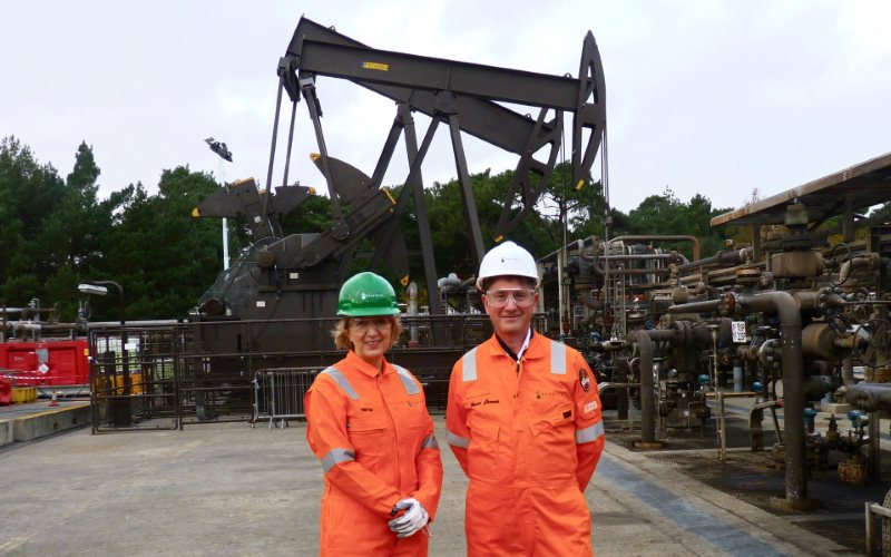 New Defra Secretary Andrea Leadsom visiting Wytch Farm in Dorset; the largest conventional onshore oilfield in Western Europe, with Brian James, General Manager at Perenco UK, 11th November 2015. Photo: DECC via Flickr (CC BY-ND).