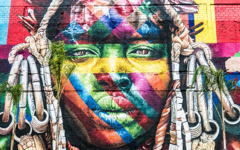 Mural in Rio de Janeiro, Brazil, in celebration of indigenous culture by the artist Eduardo Kobra. Photo: Stefano Ravalli via Flickr (CC BY-NC-SA).