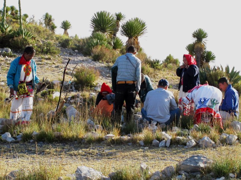Huichol Indians participate in a traditional peyote ceremony in the mountains outside Real de Catorce. Photo: Kurt Hollander.
