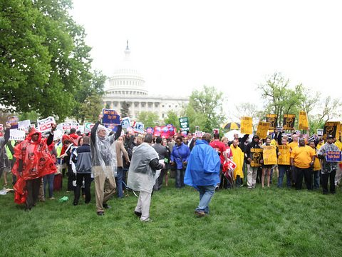 A May 2014 rally in Washington DC to oppose the Trans Pacific Partnership. Photo: AFGE via Flickr.