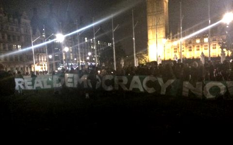 The Occupy Democracy rally in London's Parliament Square last night. Photo: Nina Tailor / @ninatailor2.