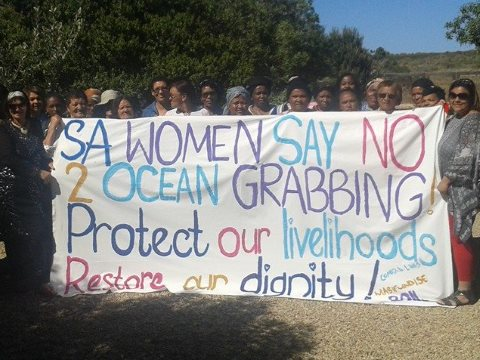 Women of Kwa-Zulu Natal, South Africa, protesting today. Photo: World Forum of Fisher Peoples - WFFP.