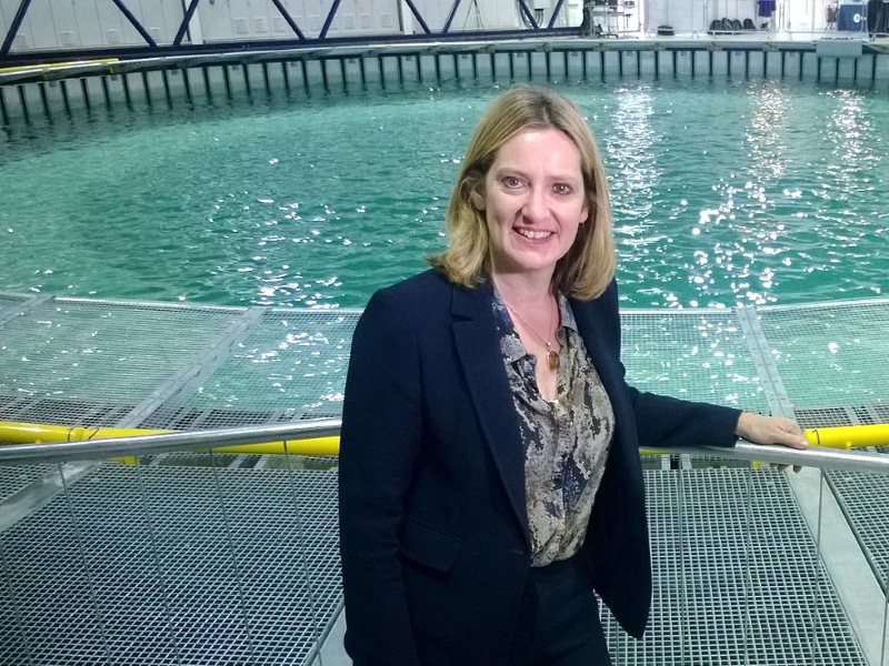 In her former role as climate change minister, Amber Rudd opening FloWave's new cutting edge marine energy testing facility at the Univeristy of Edinburgh. Photo: DECC via Flickr (CC BY-ND).