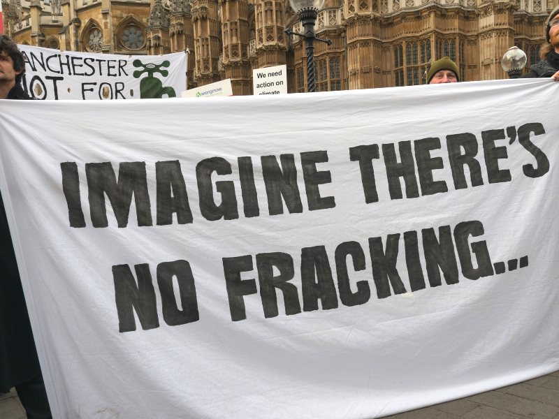 'Imagine there's no Fracking' - banner at London protest outside Parliament, 26th January 2015. Photo: Ron F. via Flickr (CC BY-NC-ND).