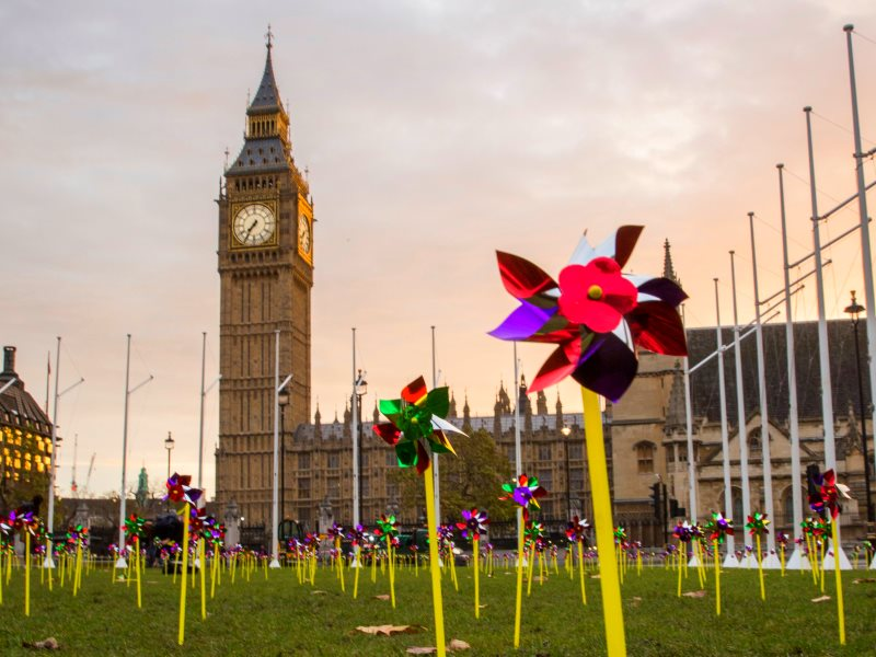 Thousand of pinwheels adorn Parliament Square in a 10:10 action calling on the UK Government to lift its ban on onshore wind power, the UK's cheapest form of new power generation. Photo: Andrew Aitchison for 10:10 UK.