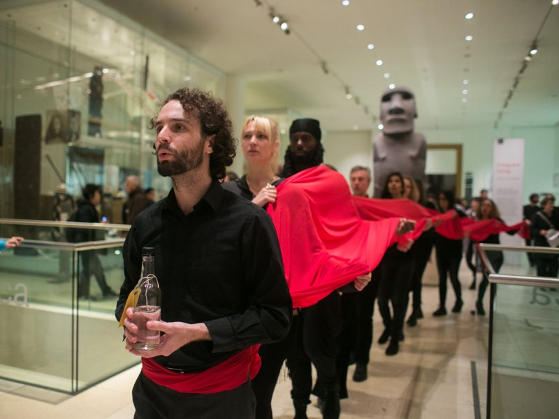 A recent demonstration in the British Museum to denounce BP's sponsorship. Photo: Kristian Buus / Art Not Oil.